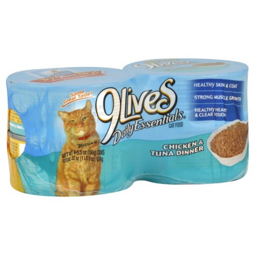 9Lives Daily Essentials Cat Food, Chicken & Tuna Dinner, 4 Pack, 22 Oz, (Pack Of 4)