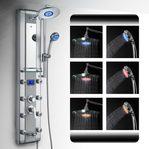 New AKDY Aluminum Shower Panel AzV5333d Rain Style System with 3 Colors LED