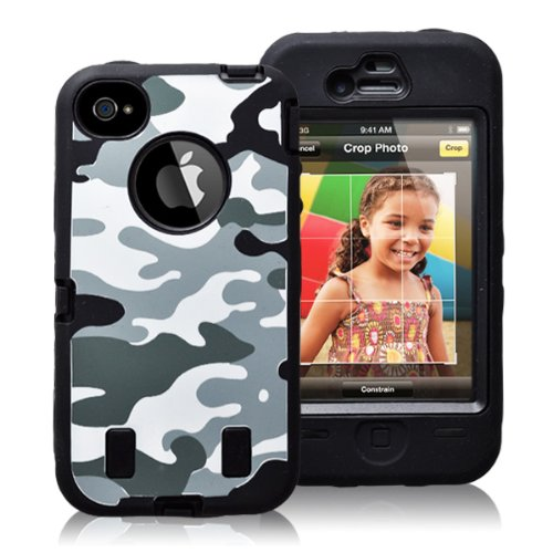 Gmatrix Camo Series Hybrid Case For Iphone 4 & 4S - Retail Packagiing (Grey)