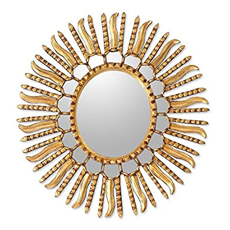 NOVICA Gold Sunburst Bronze Leaf Wood Framed Decorative Wall Mounted Mirror, Metallic Winter Sun