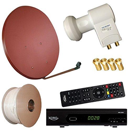 Digitale Sat Anlage 80 cm + HD RECEIVER + 30m Kabel + Opticum Twin LNB = HD Komplett Set (3 Farben wählbar)