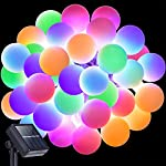 Globe Rubber String Lights Solar Powered 13 Feet 30 LEDs, DecorNova IP44 Waterproof 8 Modes Outdoor Ball Fairy Latex Rope Lights with Panels, Multi Colors