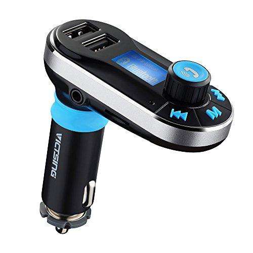 VicTsing - Transmisor Bluetooth FM MP3 para coche, incorpora micrófono para llamadas manos libres. Carga cable USB, con 5V de salida / 2.1A - Plateado