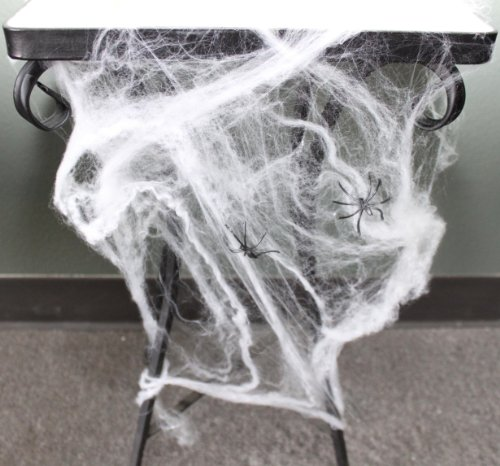 White Halloween Spiderweb Decoration with 10 plastic spiders 75ft coverage