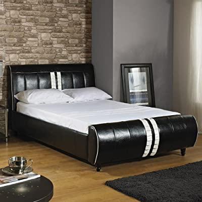 A & I Beds Luxury Angel Black & White 5Ft Kingsize Hand Made Faux Leather Bed Frame