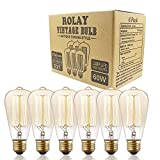 Rolay Vintage Edison Bulbs - 6 Pack - ST64 - Squirrel Cage Filament - 370 Lumens - Dimmable - Black Friday Deal