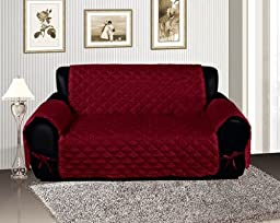 Burgundy Quilted Micro Suede Pet Dog Couch Sofa Cover Protector Throw