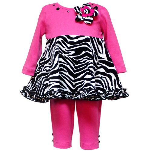 Size-24M RRE-54211F 2-Piece FUCHSIA-PINK BLACK WHITE ZEBRA PRINT BUTTON FLOWER Special Occasion Girl Party Dress/Legging Set,F154211 Rare Editions BABY/INFANT