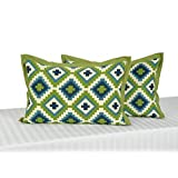 Swayam Drape And Dream Printed Cotton 2 Piece Pillow Cover Set - Green (PC02-1408 )