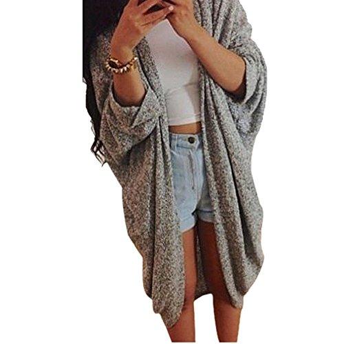 Baomabao Womens Casual Knit Sleeve Sweater Cardigan Jacket Coat (Small)