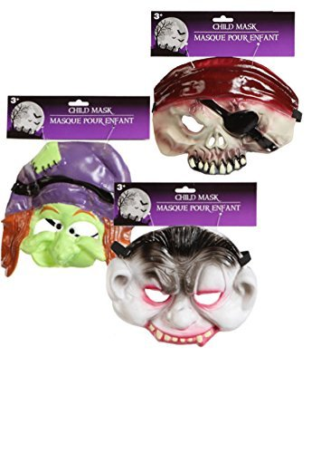 Child's Half-face Halloween Masks Choose From Vampire, Witch, or Pirate