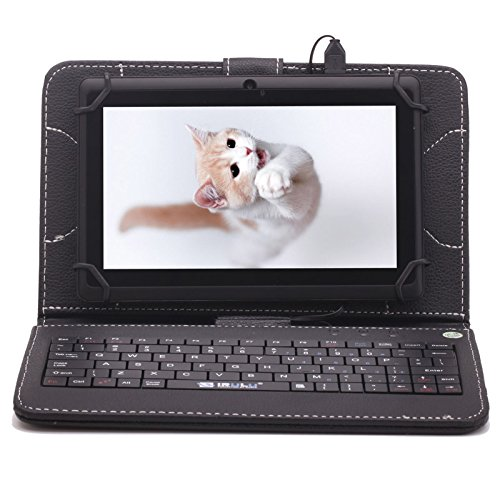 """Irulu Hd Screen Q8 7"""" Android Tablet With Keyboard Case, Android 4.2 Jelly Bean Os, 1024*600 Hd Screen With 5 Point Capactive Touch, Allwinner A23 Dual Core Cpu, Dual Cameras(0.3/2Mp), 8Gb Storage - Black Tablet With Black Keyboard Case"""