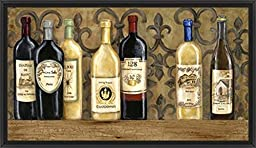 38in x 22in Wines of the World by Garden Street Gallery - Black Floater Framed Canvas w/ BRUSHSTROKES