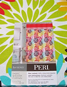 Peri Bayberry Flower Burst Fabric Shower Curtain in Hot Pink, Red, Orange, Yellow, Aqua & Lime Green