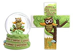 Bundle of Owl Themed Baby Decor - Waterglobe and Wall Cross