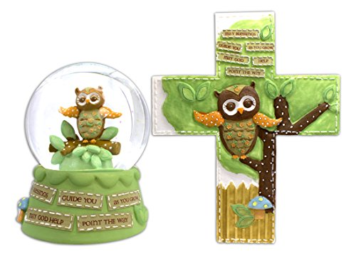 Bundle of Owl Themed Baby Decor - Waterglobe and Wall Cross - 1
