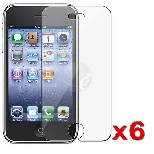 6 X Lcd Clear Screen Protector Cover Compatible With Iphone 3G 3Gs