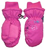 N'Ice Caps Girls Thinsulate and Waterproof Colorful Floral Embroidered Mittens