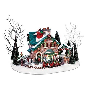 #!Cheap Department 56 Christmas Lane Series Animated Snow Village, Santa's Wonderland House