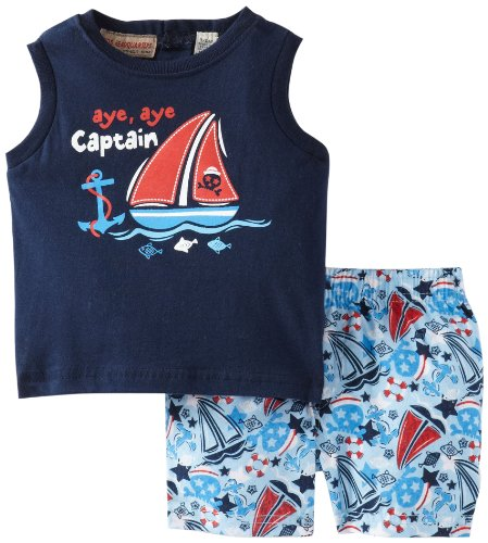 Kids Headquarters Baby-Boys Newborn Navy Muscle Tee With Swim Trunk, Navy, 6/9 Months front-691870