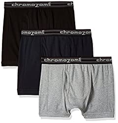 Chromozome Men's Cotton Trunk (Pack of 3) (8902733346504_TC 01_Large_Black, Navy and Grey)