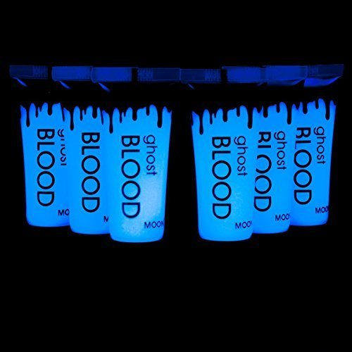 Moon Glow Blacklight 6x 0.34oz Ghost Blood tubes - Halloween Fake Blood - dries invisible but glows blue under Blacklights by Moon Glow