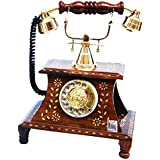 National Handicrafts Desk Top Antique Telephone Home Décor Vintage Items Made Of Wood With Brass Inlay Work