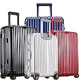 スーツケース 軽量 小型 中型 大型 アルミ フレーム wキャスター 8輪 TSA s m l ll キャリーケース キャリーバッグ (M, ブラック)