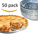 "Premium 9"" Aluminum Foil Pie Pans. Disposable Tin Plates for Pies Tart Quiche. (Pack of 50)"
