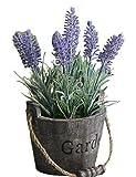 (ADOSSY)木製バケツ に ラベンダー の 造花 カントリー雑貨 インテリア に (紫 ラベンダー)