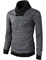 H2H Men's One Button Point Shawl Collar Knited Slim Fit Pullover Sweater