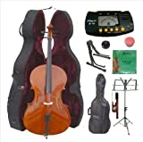 Merano 4/4 Size Cello with Hard Case, Bag and Bow+2 Sets of Strings+Cello Stand+Black Music Stand+Metro Tuner+Mute+Rosin