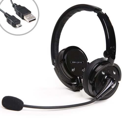 Beyondtek Hi-Fi Stereo 4X Nosie Canceling 2 In 1 Stereo Handsfree Headset Boom Mic Noise Canceling Wireless Bluetooth Headphone For Cellphones Iphone 5 5S Ipad Mini Samsung Galaxy S4 Tab 10.1 Pc Ps3 Skype