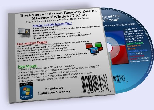 Recovery Boot Disc for Windows 7 System 32 BIT