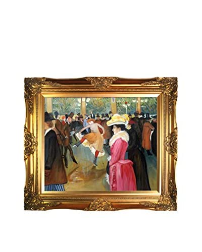 Henri De Toulouse-Lautrec's At The Moulin Rouge, The Dance Framed Hand Painted Oil On Canvas, Mult...