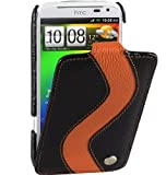 Melkco Black / Orange SPECIAL Edition GENUINE Leather Case for HTC Sensation XL- Limited Edition Jacka Type