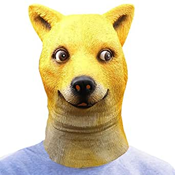 SALICO Masquerade Animal Mask Latex Costume Party Dog Head Mask(Yellow)