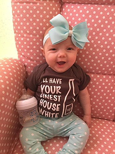 """Fayebeline Boutique Quality Baby Onesie """"I'll Have Your Finest House White"""" Funny Baby Gift, Gray, 6-12 Month, Unisex"""