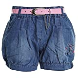Kinder Mädchen Kurze Hose Bermuda Shorts Sommer Capri Pump Pants Jeans 20336, Farbe:Blau;Größe:116