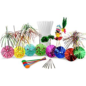 Cocktail Accessories Set with 24x Cocktail Umbrellas, 10x Glitter Sticks, 10x Fuzzy Animals, 25x Disc Stirrers, 10x Indoor Sparklers, 1000x Frappe Cocktail Straws, 12x Palm Tree Picks, 24x Foil Parasols & 8x Palm Tree Straws