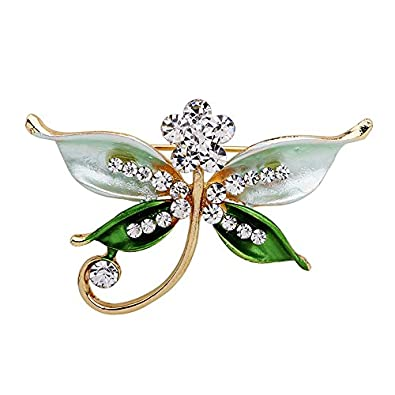 Romantic Time Green Dragonfly Diamond Tone Curving Style Brooch Pin