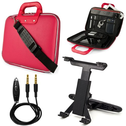 Pink Sumaclife Cady Bag Case W/ Shoulder Strap For Asus Eee Slate B121 Windows 7 Professional 12.1-Inch Tablet + Headrest Mount + Auxiliary Cable