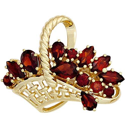 Brosche Anstecker Korb mit Blumen Granat rot 333 Gold Gelbgold Edelstein Damen günstig online kaufen
