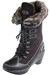 Women's Nordic Fur-Lined Tall Suede Heeled Boots