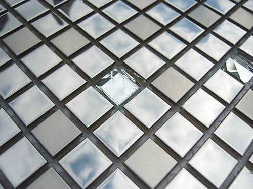 FLIESENTOPSHOP Glasmosaik Edelstahlmosaik Mosaik Metall Metalleffekt Fliese silber Dusche