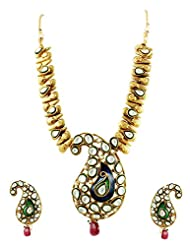 Royal Gold Plated Necklace Set In Mango Design With Kundans