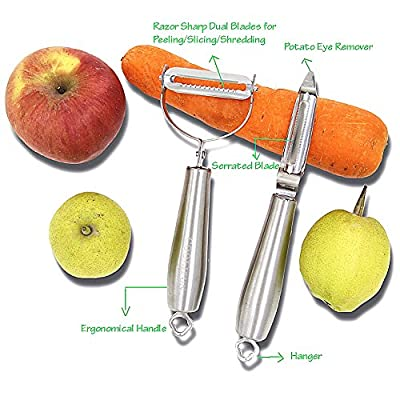 Premium Stainless Steel Vegetable Peeler Set of 2- Serrated and Julienne Peeler - Apple Peeler- Potato Peeler- Fruit Peeler- Carrot Peeler- Vegetable Shredder- Handy Kitchen Gadget