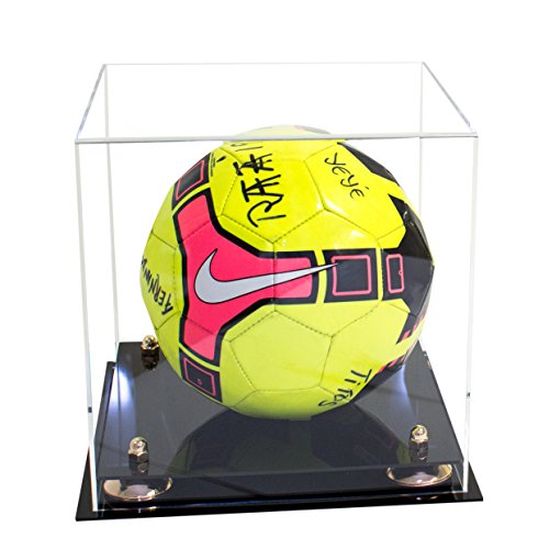 Deluxe Clear Acrylic Full Size Square Soccer Ball Display Case with UV Protection (A027) (Gold Ball Display compare prices)