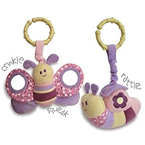 Little Bird Told Me - Rattle and Squeak Set - Pink