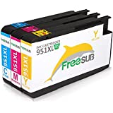 FreeSUB 3 Color (Cyan, Magenta, Yellow) High Yield Replacement For HP 951XL Ink Cartridge Compatible With HP Officejet...